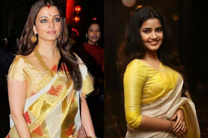 Kerala Kasavu Sarees Latest Blouse Front Neck Designs