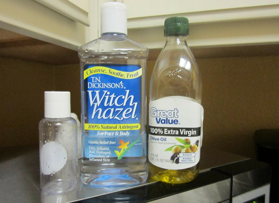 Witch hazel and olive oil
