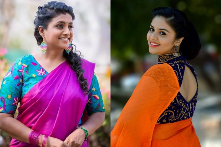 plain saree with design blouse