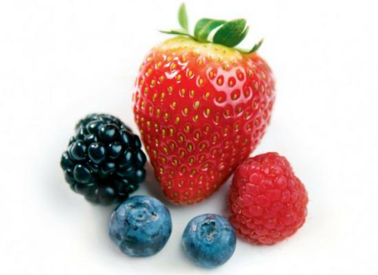 Raspberries, strawberries and blueberries