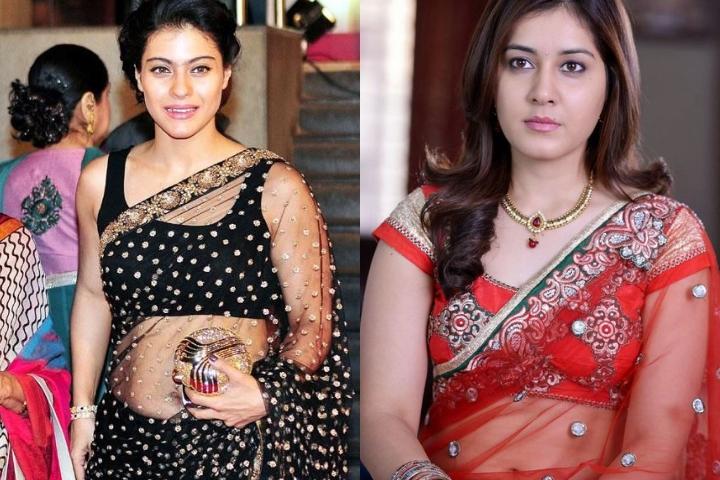 Actresses - In Transparent Sarees.
