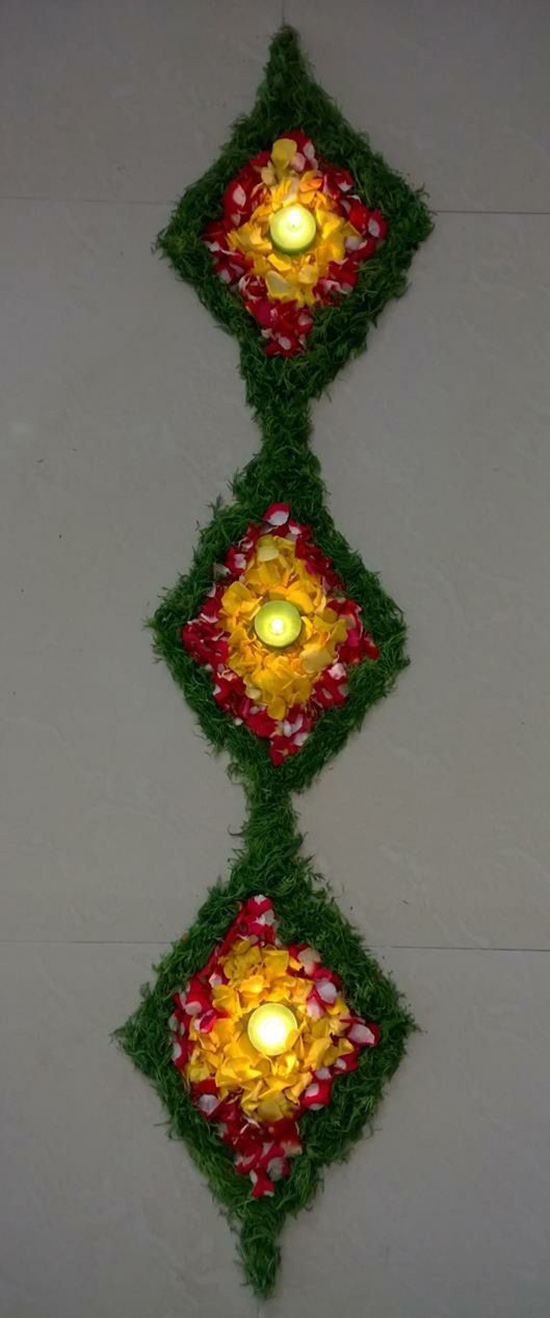 vertical flower rangoli design