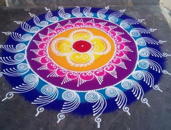 Easy diwali rangoli designs in floral pattern