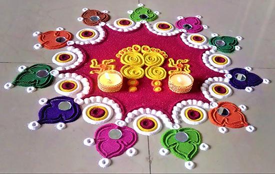 Dotted circle diwali rangoli designs