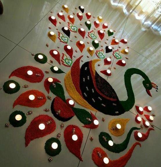 new peacock diwali rangoli designs