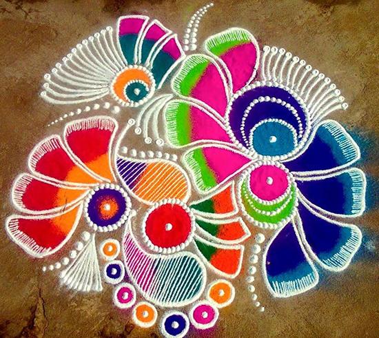 Twisted diwali rangoli pattern